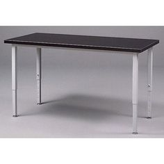 """Fleetwood Adjustable Height Steel Frame Science Table with Black HPL Top Frame Color: Black, Size: 60"""" W x 24"""" D"""