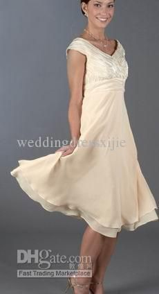 Wholesale Mother Of The Bride Dresses Mother Dress Chiffon V-neck Tea Length Empire Pleat Bead Appliqued Cheap, Free shipping, $117.6-140.0/Piece | DHgate