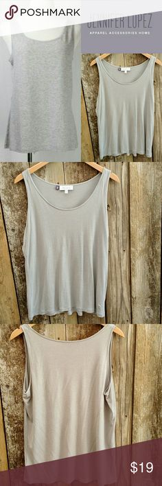 "{JLo} Long Shimmer Tank sz XL 14-16 Great condition long tank with a silver shimmer. 44"" chest x 26"" long. Size XL 14-16 Jennifer Lopez Tops Tank Tops"