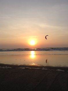 Sunset at Mandrem Beach, Ashiyana yoga retreat, Goa, India