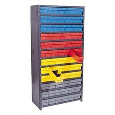 """Closed Shelving Storage System with Various Euro Drawers (39"""" H x 36"""" W x 18"""" D) Bin Color: Yellow by Quantum Storage. $667.99. CL1839-624YL Bin Color: Yellow Features: -Made from high density steel.-400 lb capacity per shelf.-Closed shelving provides a dust-free environment.-7 Shelf Unit. Dimensions: -Shelving Unit Dimensions: 39'' H x 36'' W x 18'' D.-4 5/8'' H x 5 9/16'' W x 17 5/8'' D - qty. 18 and.-4 5/8'' H x 3 3/4'' W x 17 5/8'' D - qty. 27."""