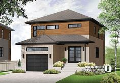 Discover the plan 3876 - Winslet from the Drummond House Plans house collection. Modern narrow lot house plan with garage, large kitchen, 3 bedrooms, master with ensuite, covered terrace. Total living area of 1617 sqft.