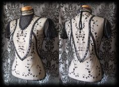 Goth Black Lace Bib Detail VICTORIAN GOVERNESS High Neck Blouse 8 10 Steampunk