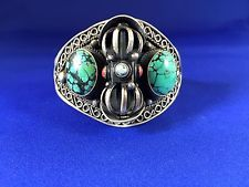 Nepalese Sterling Silver Coral AND Spider WEB Turquoise With Dorje Cuff | eBay