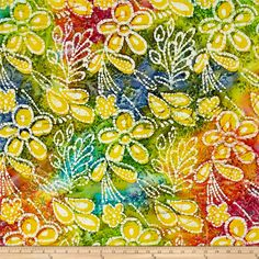 Indian Batik Caledonia Garden Large Floral Pastle Multi from @fabricdotcom  From Textile Creations, this Indian batik is perfect for quilting, apparel and home decor accents. Colors include various shades of green, blue, white, orange, pink and turquoise.