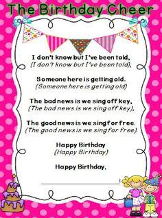 Tonya's Treats for Teachers- cute birthday cheer for the classroom Birthday Poems For Teachers, Teacher Poems, Classroom Birthday, School Birthday, Birthday Kids, Classroom Cheers, Classroom Posters, Classroom Fun, Classroom Activities
