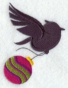 "Christmas Bird Silhouette	Product ID:	E7930 Size:	2.91""(w) x 3.86""(h) (73.9 x 98 mm)	Color Changes:	6 Stitches:	8605	Colors Used:	6"