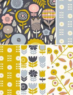 print & pattern blog features rachel cave for dashwood studio. These prints would be perfect on the retro granny's chairs for the lounge!