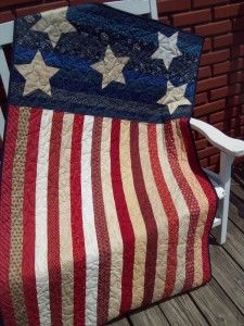 """Love this! """"Freedom Quilt""""  ~  pattern by Karen Bennet {Nellie's Needle}.  It is fun to see the stripes in coordinating fabrics instead of only using red and white."""
