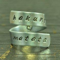 Hakuna Matata Ring Wrap Around Ring Adjustable by TheVillageGifts, $10.00