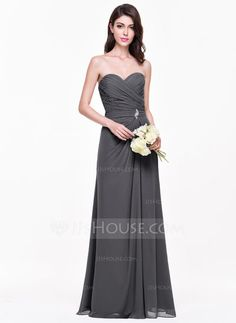 56ad18ff3ad A-Line Princess Sweetheart Floor-Length Chiffon Bridesmaid Dress With Ruffle  Crystal Brooch (007068364)