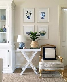 Hamptons style. Coastal style. Country style home. Artwork by Sprout Gallery.