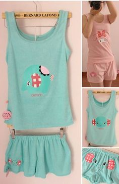 awesome cute Cute Sentimental Circus Elephant Clothes Set(Tops + Shorts Set)