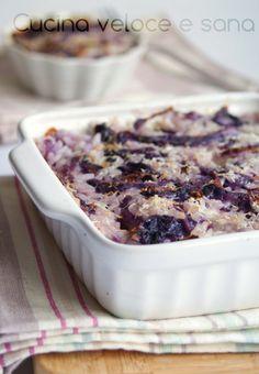 Riso al forno con cavolo cappuccio viola, un primo di riso semplice, veloce e tanto gustoso.