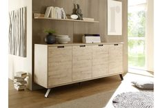 Modern 3 drawer and 3 door retro style sideboard in Canyon Oak wood effect finish with Anthracite metal legs Italian Furniture, Home Furniture, Furniture Sets, Oak Sideboard, Modern Sideboard, Lucca, Home Salon, Drawers, Sweet Home