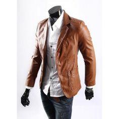 Blazer de Couro Masculino, apenas R$238,00  http://www.camisariarg.com/jaqueta-casual-masculina-caramelo.html