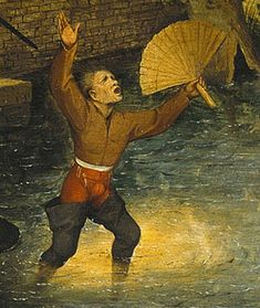 Pieter Bruegel the Elder, Detail from Netherlandish Proverbs, To be unable to see the sun shine on the water, To be jealous of another's success Renaissance Artists, Renaissance Paintings, 16th Century Fashion, Elder Holland, Pieter Bruegel The Elder, Google Art Project, Landsknecht, Hieronymus Bosch, Medieval Life