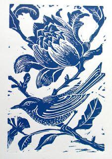 Blue Bird Linocut, Mangle Prints