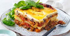 For a hearty and healthy dinner, try this vegetarian version of moussaka, replacing meat with lentils.