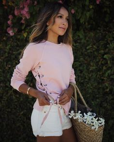 "JULIE SARIÑANA on Instagram: ""Shop this pretty pink sweatshirt plus a few other exclusive @shop_sincerelyjules styles at the @nordstrom Anniversary Sale! Sale ends on…"""