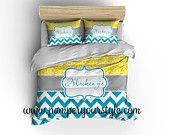 Chevron and Damask Yellow and Turquoise Bedding Duvet Cover or Comforter - Personalize Monogram - Pick Your Color and Size - pinned by pin4etsy.com