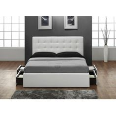 WANT THIS SO BAD. White queen size bed & headboard with storage drawers @Overstock - Fully upholstered in genuine and durable bonded leather  Includes slat support system  Platform bed - no box spring required   $1,181.99