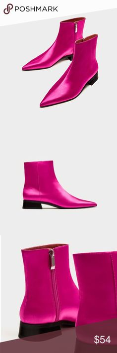 ZaRa SATEEN POINTED ANKLE BOOTS PINK FUSCHIA New with Zara duster bag. Size: 5 Color: Fuchsia Zara Shoes Ankle Boots & Booties