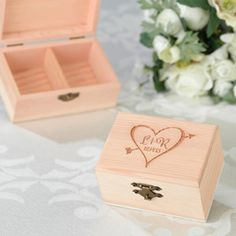 WeddingDepot.com ~ Initials Ring Presentation Box ~ Store the rings in this beautiful unstained pine ring box on the wedding day and use it as a keepsake thereafter.