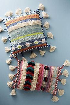 boho home decor, tasseled boho decorative pillows