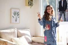 Denim ceket Pop Art, Kimono Top, Tops, Women, Fashion, Quilt Block Patterns, Moda, Fashion Styles, Fashion Illustrations