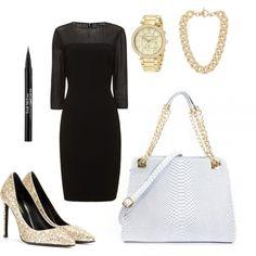 """Black and Gold"" by handbagheaven #littleblackdress"