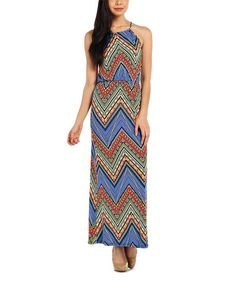 Look at this Blue Chevron Yoke Maxi Dress on #zulily today!