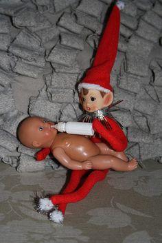 Elf does some babysitting