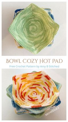 Easy Knitting Projects, Yarn Projects, Crochet Projects, Crochet Bowl, Free Crochet, Free Easy Crochet Patterns, Wooly Bully, Crochet Hot Pads, Crochet Potholders