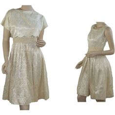 Vintage 1960's Cream Evening Party Dress with Jacket offered at Ruby Lane