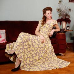 Vintage 1940s Dress  Decadent Cold Rayon Garden Party by FabGabs, $154.00