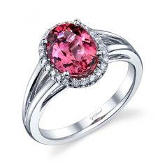 Pink sapphire and diamond fashion ring
