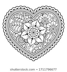 Find Mehndi Flower Pattern Form Mehndi flower pattern in form of heart for Henna drawing and tattoo. Decoration in ethnic oriental, Indian style. Coloring book page. Valentines Day Greetings, Valentine Day Crafts, Henna Drawings, Pencil Drawings, Mehndi Flower, Decorative Borders, Bottle Painting, Coloring Book Pages, Mandala Art