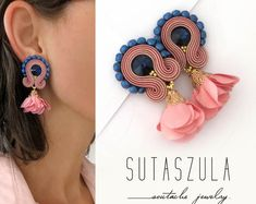 Summer trends Powder pink earrings soutache earrings soutache flower earrings pale pink clip on earrings soutache ohrringe clip on earrings Gold Diamond Earrings, Pink Earrings, Clip On Earrings, Flower Earrings, Earrings Handmade, Handmade Jewelry, Unique Jewelry, Bridesmaid Jewelry, Bridal Jewelry