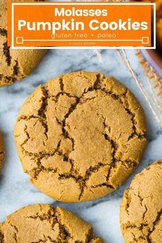 Gluten Free Pumpkin Cookies, Paleo Cookies, Gluten Free Desserts, Coconut Cookies, Paleo Pumpkin Recipes, Paleo Recipes, Paleo Pumpkin Muffins, Cooking Recipes, Molasses Cookies
