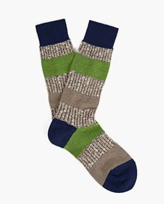 Men's Springing Stripe Socks: Featuring an eye-catching contrasting striped pattern, these socks from Ayame are an eye-catching everyday style. #Ayame #mensfashion #socks