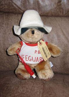 """***SOLD*** Vintage EDEN Paddington Bear LIFEGUARD Plush 10"""" TOY Whistle Hat Tag Sea Rescue #Eden #Paddington #Lifeguard"""