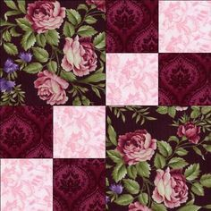 just 3 fabrics RJR Giselle Pink Mauve Black Shabby Rose Violet Floral Pre-cut Quilt Block Kit Easy Quilt Patterns, Patchwork Patterns, Patchwork Quilting, Scrappy Quilts, Easy Quilts, Pattern Blocks, Diy Quilting, Quilting Ideas, Quilt Block Patterns 12 Inch