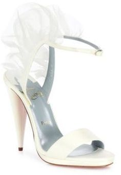 fe10c33188e8 Christian Louboutin Jacqueline Leather   Silk Chiffon Ankle-Strap Sandals  Silk Chiffon