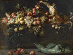 얀-Roos-정물-과일-및-야채-두-원숭이-클래식-배경-높은-품질-아트-장식-무료-배송.jpg (750×570)