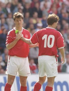 Brian Laudrup (#11 Denmark, 1987–1998, 82 caps, 21 goals) receives the captain's armband from his brother Michael Laudrup (#10 Denmark, 1982–1998, 104 caps, 37 goals).