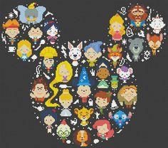 50% DE DESCUENTO VENTA Disney Mickey cruz puntada por ElCrossStitch