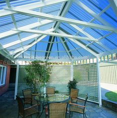 Pergola Roofing NZ - Sunnyside Clear Roofing: looking for inspiration or ideas for pergola or conservatory roofing? Check out our ideas gallery today! Pergola Attached To House, Pergola With Roof, Covered Pergola, Pergola Shade, Pergola Plans, Pergola Ideas, Diy Awning, Awning Canopy, Corrugated Roofing