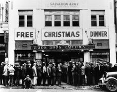 Men line up for a free Christmas dinner during the Depression in Los Angeles, CA - 1934