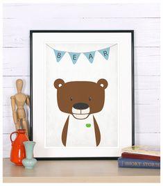 Art mural chambre d'enfant, ours pépinière art, kids room decor, imprimé animal de crèche, création crèche, bébé mignon animal, art minimaliste, affiche animal